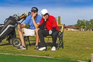 PuttBANDIT | Visibly Better Putting | Two unhappy golfers sitting